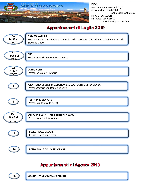 Calendario Attivita.Calendario Attivita Luglio Agosto 2019 Comune Di Grassobbio